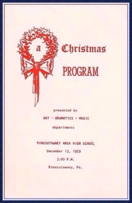 Short Christmas Play.The Program For The 1960 Punxsutawney Area High School